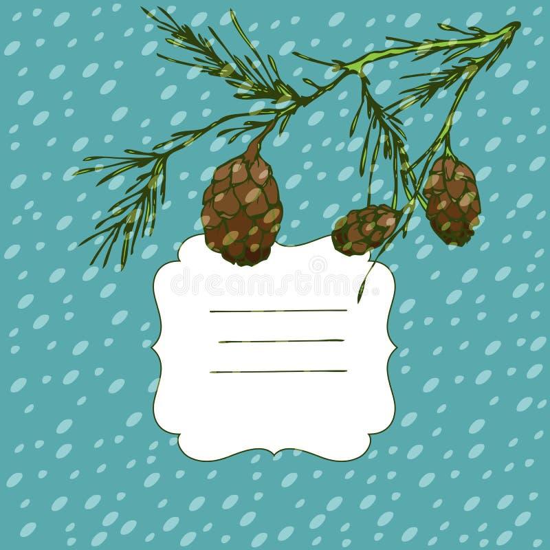 Fondo del vector del invierno con el árbol de la ilustración y de abeto stock de ilustración