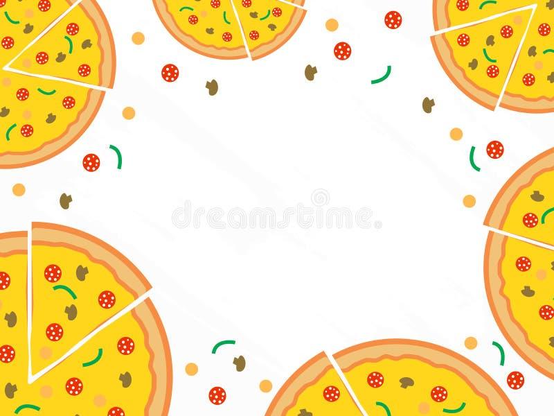 Fondo del vector del menú de la pizza Menú del café del restaurante, diseño de la plantilla stock de ilustración