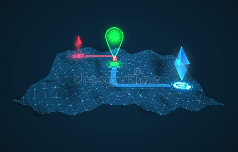 Fondo del vector del navegador de GPS mapa del vector de la tecnología 3d ilustración del vector