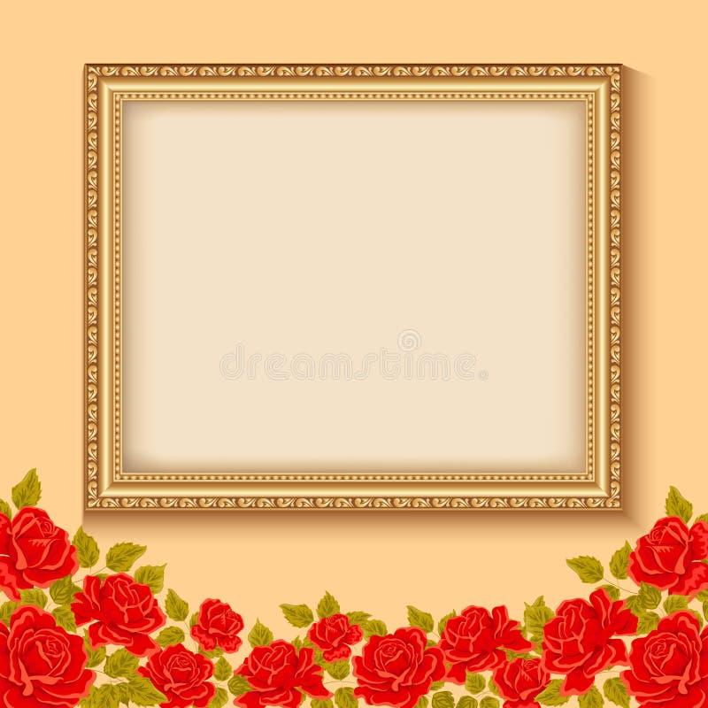 Fondo del vector del vintage con un marco del oro y rosas rojas stock de ilustración