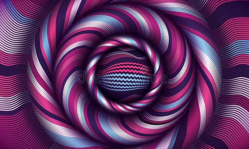 Fondo del vector del ejemplo de la flexión Arte de la curva y modelo de la deformación Las líneas ópticas diseñan Textura del con stock de ilustración