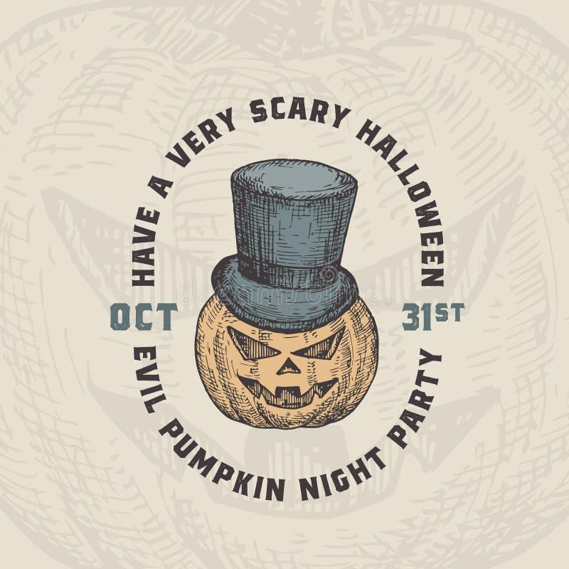 Fondo del vector Happy Halloween o plantilla de tarjeta. Calabaza dibujada a mano en un cilíndrico para sombreros ilustraciones.  libre illustration