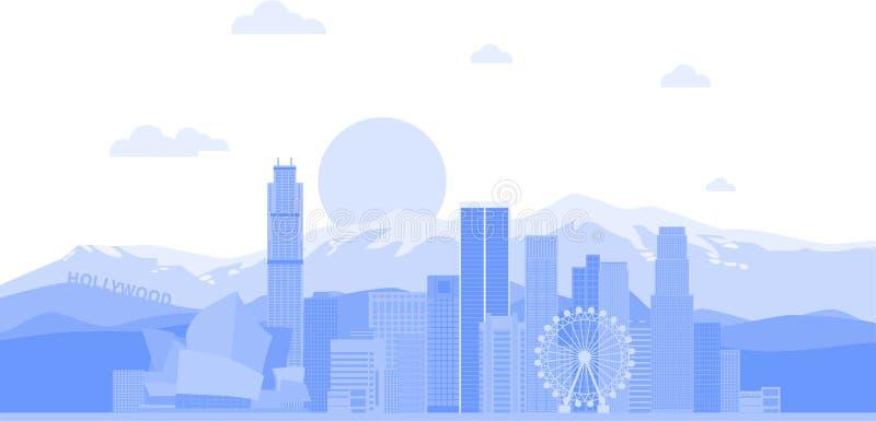 Fondo del vector del horizonte de la ciudad de Los ?ngeles Estados Unidos Ejemplo de moda plano ilustración del vector
