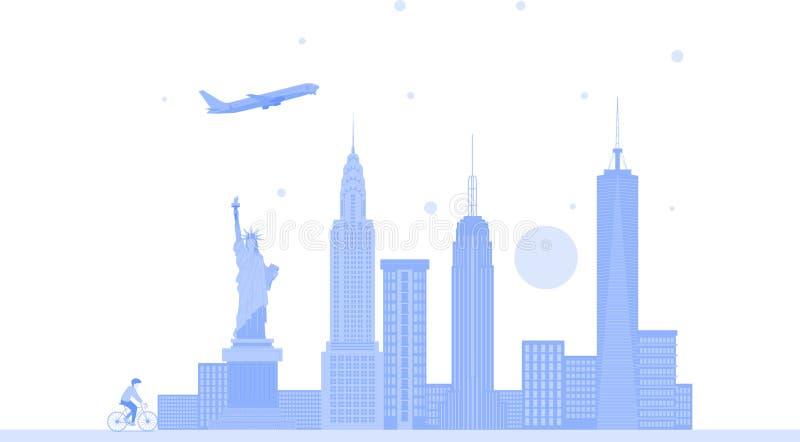 Fondo del vector del horizonte de la ciudad de Nueva York Estados Unidos Ejemplo de moda plano libre illustration