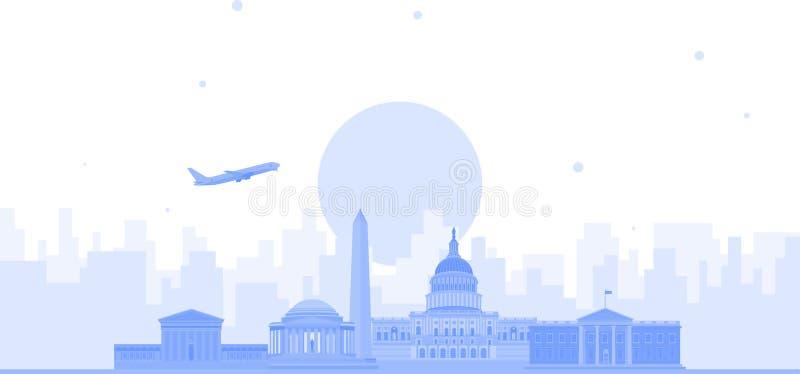 Fondo del vector del horizonte de la ciudad de Washington Ejemplo de moda plano libre illustration