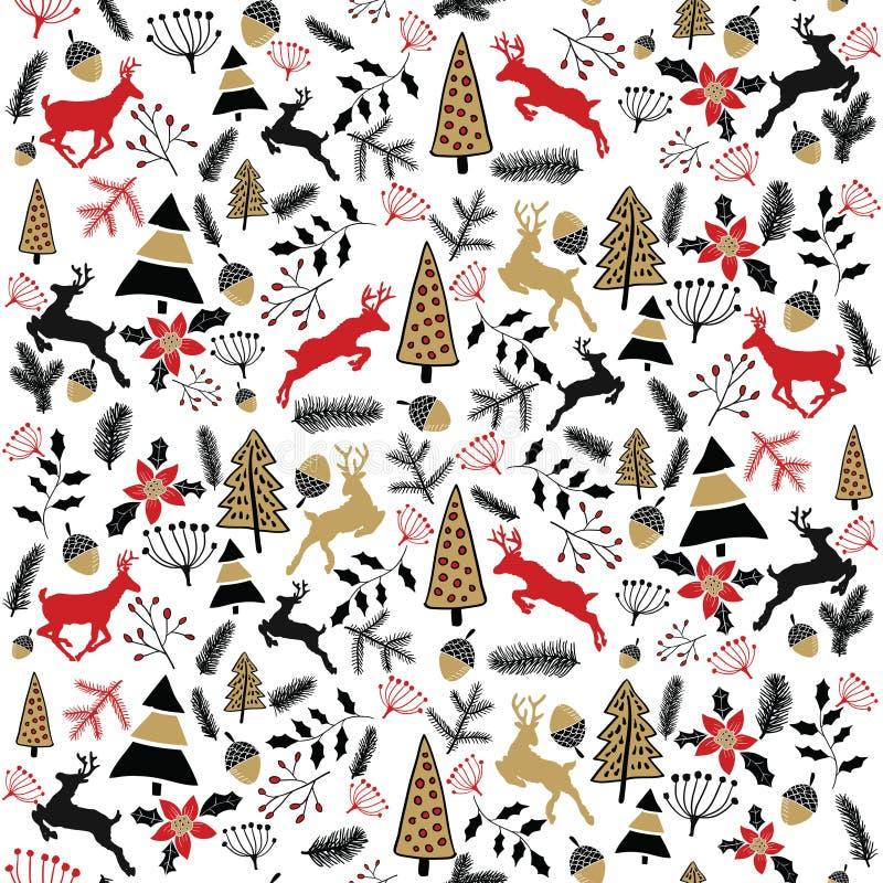 Fondo del vector Ilustración de la Feliz Navidad Tarjeta del día de fiesta ` S Eve 2017 del Año Nuevo Ciervos imagen de archivo