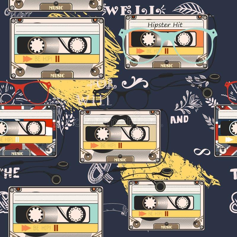 Fondo del vector del inconformista con los auriculares viejos del casete ilustración del vector