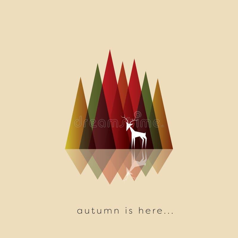 Fondo del vector del otoño o del extracto de la caída con colores típicos del follaje Montañas abstractas con los ciervos en el f libre illustration