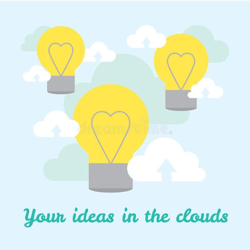 Fondo del vector sobre ideas en tecnologías de la nube stock de ilustración