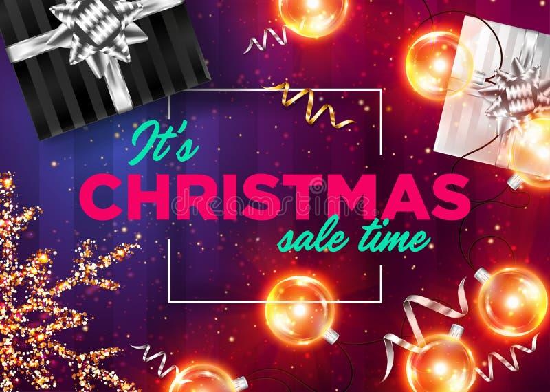 Fondo del vector del tiempo de la venta de la Navidad de It's BANDERA DE LA VENTA DE NAVIDAD stock de ilustración