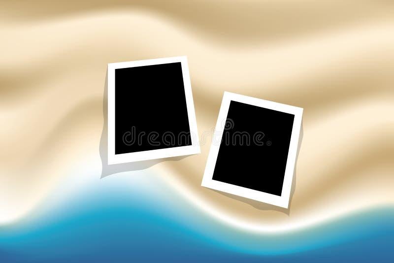 Fondo del verano con el marco de la foto en el mar y la playa de la visión superior libre illustration