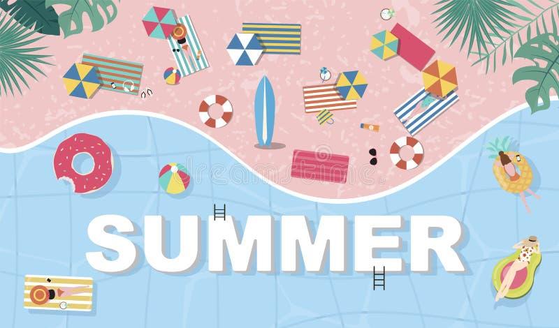 Fondo del verano con la gente minúscula, paraguas, bola, anillo de la nadada, gafas de sol, tabla hawaiana, sombrero, sandalias e foto de archivo