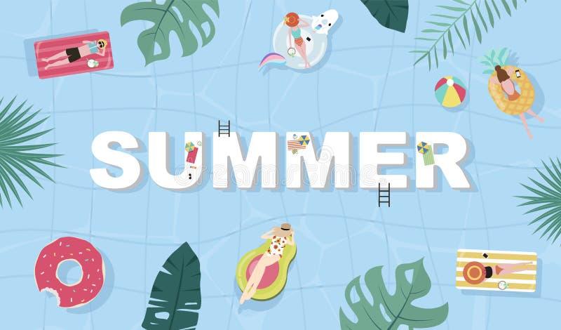 Fondo del verano con la gente minúscula, paraguas, bola, anillo de la nadada, gafas de sol, tabla hawaiana, sombrero, sandalias e fotografía de archivo libre de regalías