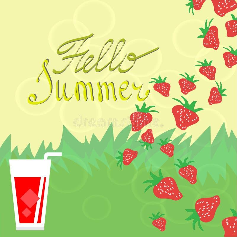 Fondo del verano con las fresas stock de ilustración