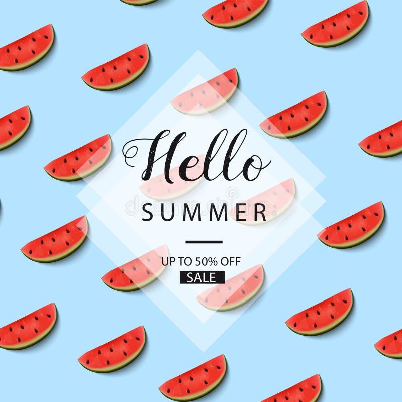 Fondo del verano con las sandías Bandera de la venta Venta del verano Hola verano Vector ilustración del vector