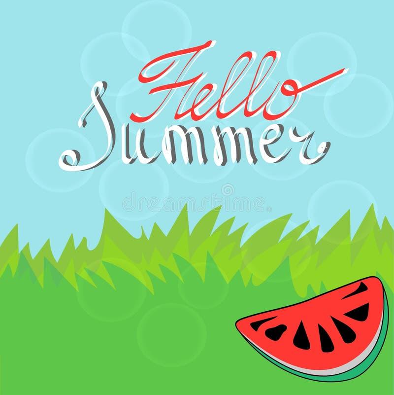 Fondo del verano con los elementos y la sandía tipográficos del diseño libre illustration