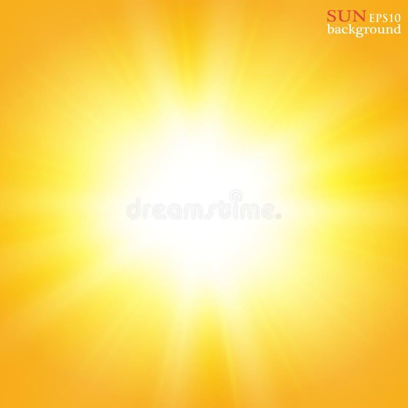 Fondo del verano con una explosión magnífica del sol del verano con la flama de la lente Espacio para su texto stock de ilustración