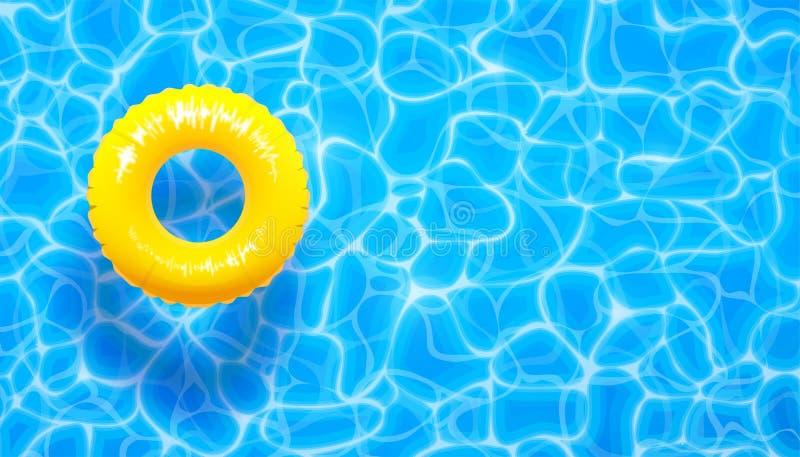 Fondo del verano de la piscina de agua con el anillo amarillo del flotador de la piscina La aguamarina azul del verano texturizó  ilustración del vector