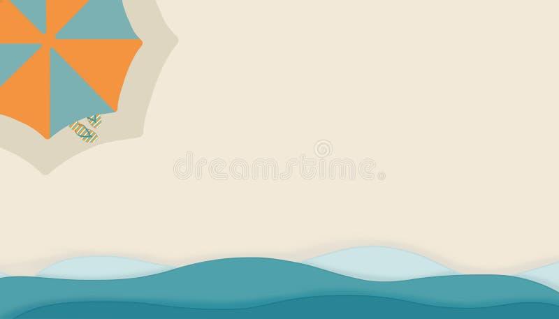 Fondo del verano de la playa con las ondas, la sombrilla y sandalias de la curva stock de ilustración