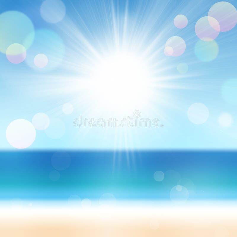 Fondo del verano de la playa y del mar borrosos stock de ilustración