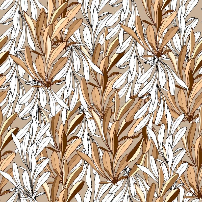 Fondo del verano de las hojas blancas y beige Ornamento de Tektilny para las telas, tejas Vector el modelo incons?til ilustración del vector