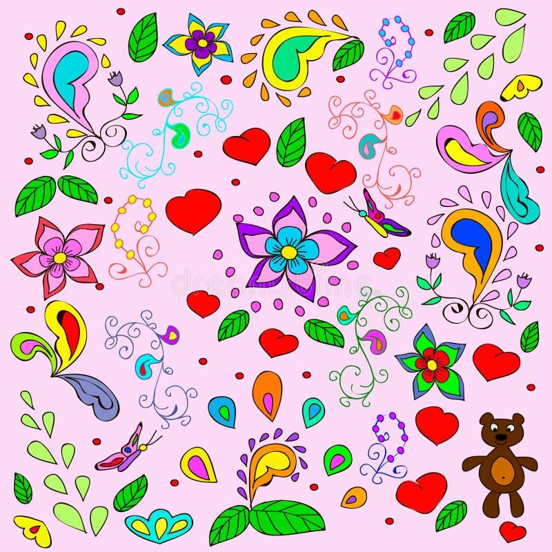 Fondo del verano de los niños con los osos y los corazones ilustración del vector