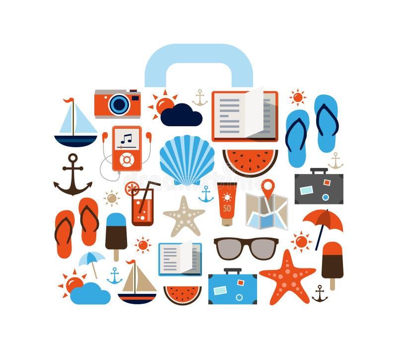 Fondo del verano - iconos ilustración del vector