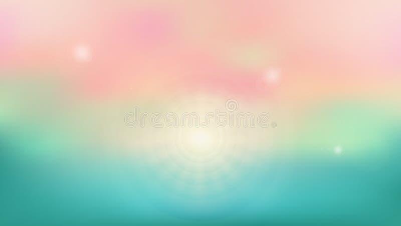 Fondo del verano del lugar estacional de la playa con brillo del sol ilustración del vector