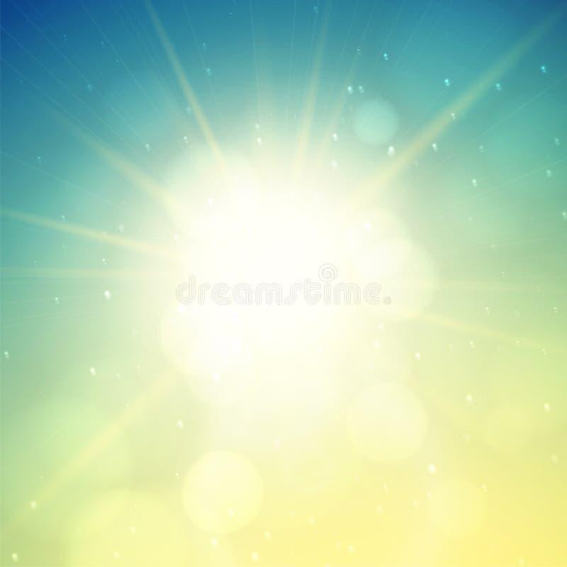 Fondo del verano, sol del verano con la llamarada de la lente stock de ilustración