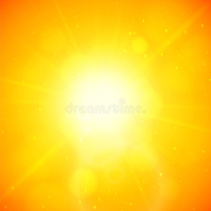 Fondo del verano, sol del verano con la llamarada de la lente ilustración del vector