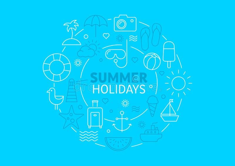 Fondo del verano - viaje y relajarse stock de ilustración