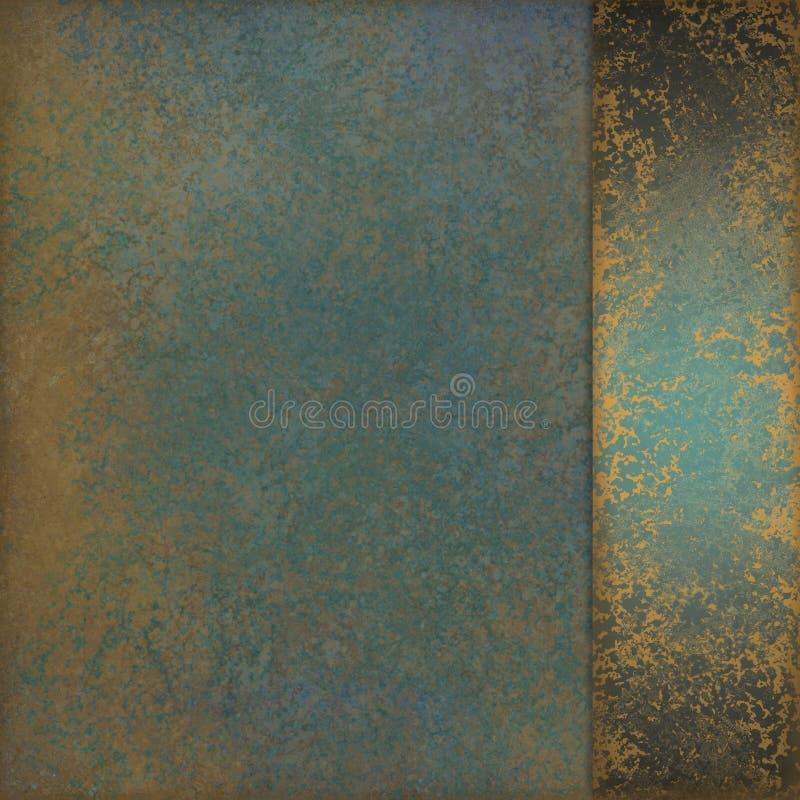 Fondo del verde azul con la cinta veteada vieja del diseño y del sidepanel de la textura del oro imágenes de archivo libres de regalías