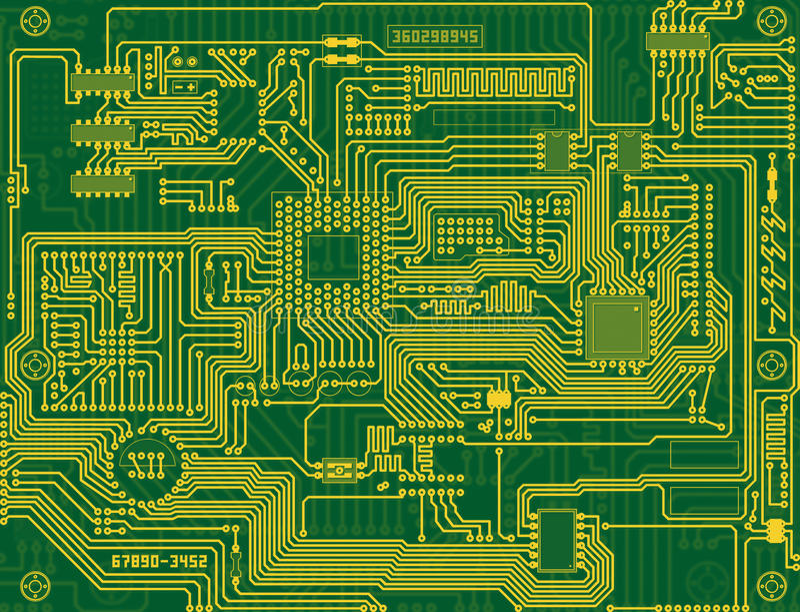 Circuito Electronico : Fondo del verde circuito electrónico stock de