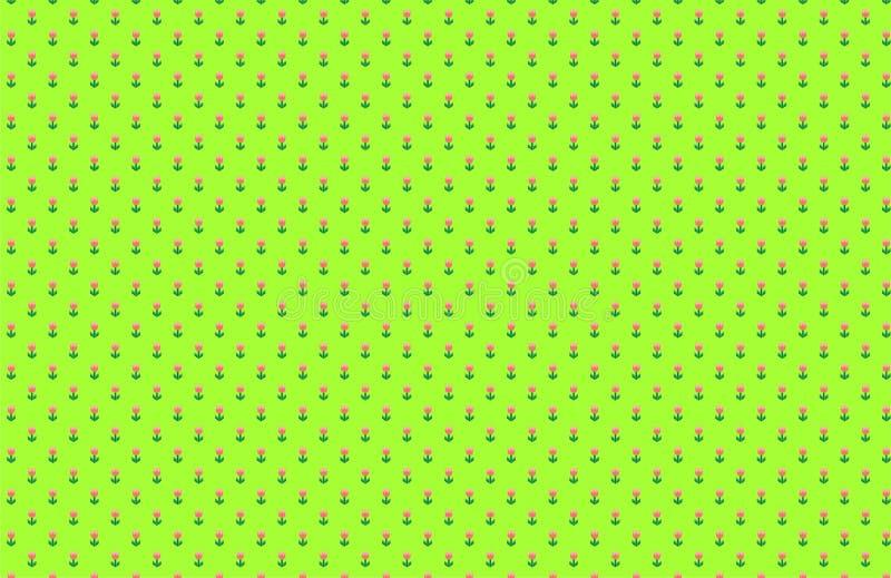 Fondo del verde del modelo de los tulipanes ilustración del vector