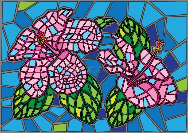 Fondo del vetro macchiato del fiore di Chaba illustrazione vettoriale