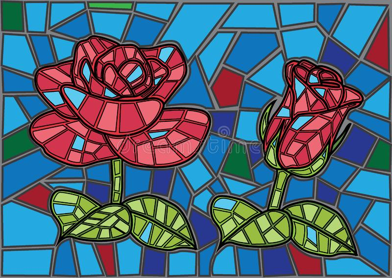 Fondo del vetro macchiato del fiore di Rosa illustrazione vettoriale