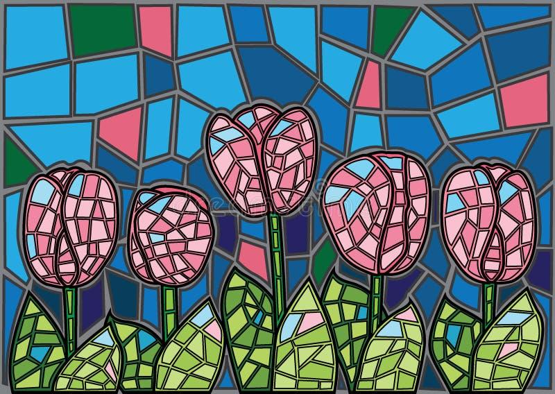 Fondo del vetro macchiato del fiore del tulipano illustrazione vettoriale