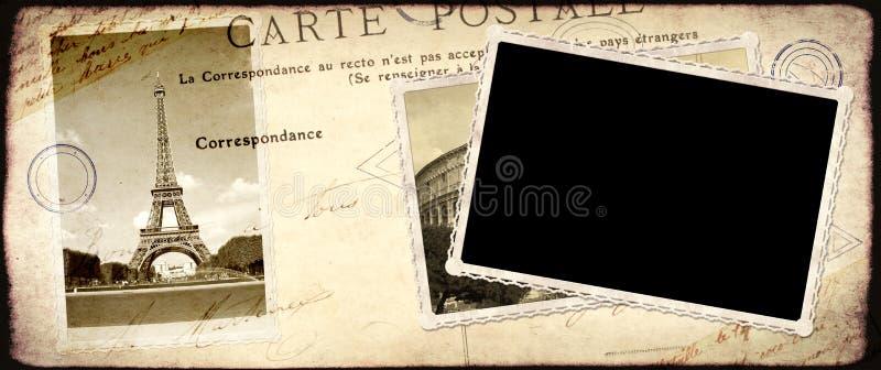 Fondo del viaje del vintage con la foto retra imagen de archivo