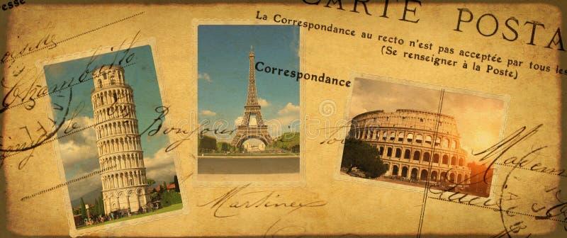 Fondo del viaje del vintage con las fotos retras de la señal europea fotografía de archivo libre de regalías