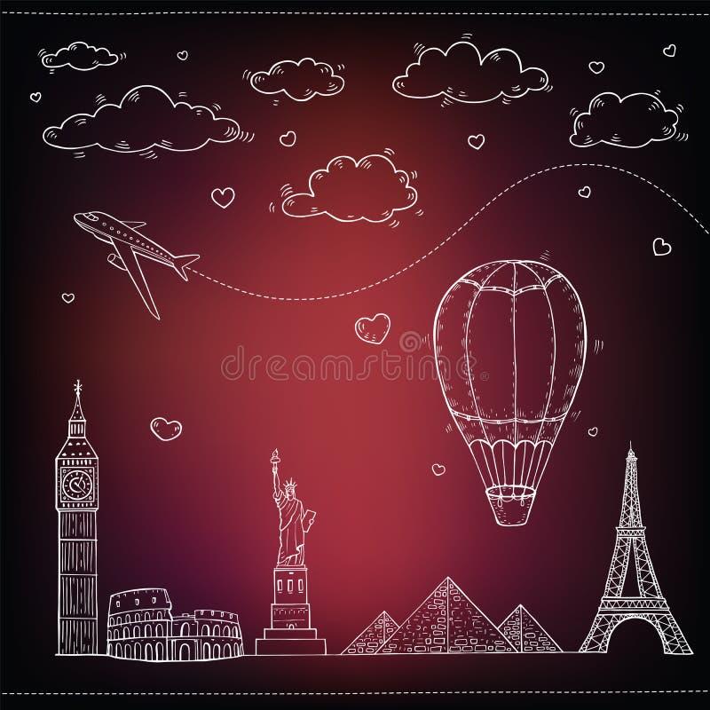 Download Fondo Del Viaje Y Del Turismo Ilustración del Vector - Ilustración de libertad, internacional: 42425120