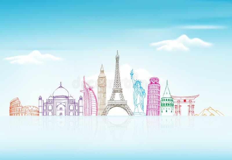 Fondo del viaje y del turismo con las señales famosas del mundo stock de ilustración