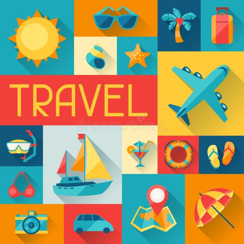Fondo del viaje y del turismo en estilo plano del diseño stock de ilustración
