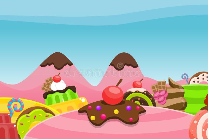Fondo del video gioco della terra di Candy royalty illustrazione gratis