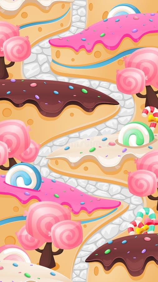 Fondo del video gioco della terra di Candy illustrazione vettoriale