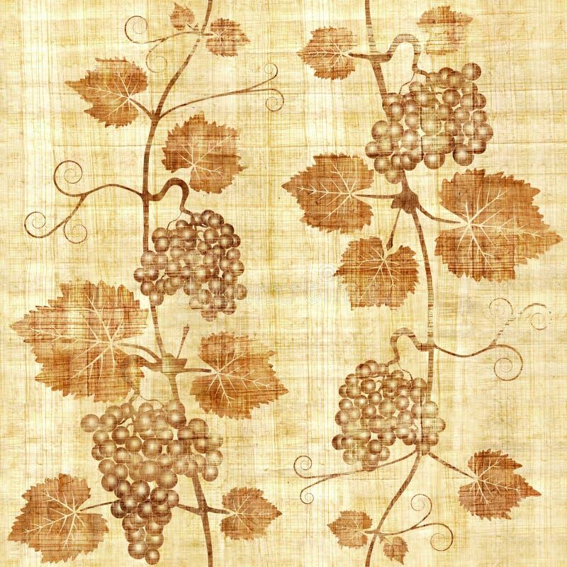 Fondo del vino dell'uva - fondo senza cuciture - struttura del papiro illustrazione di stock