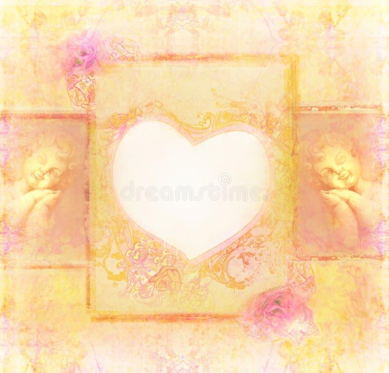 Fondo del vintage con ángeles ilustración del vector