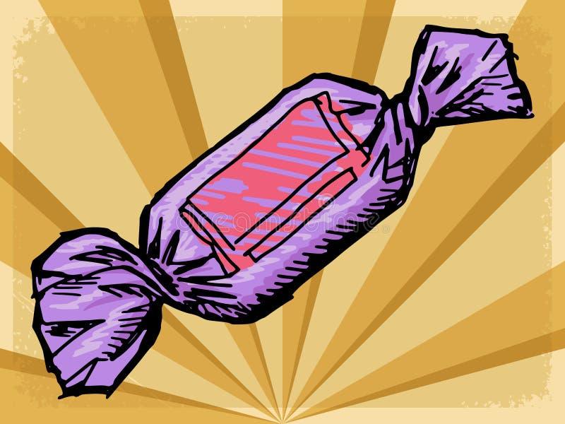 Fondo del vintage con el caramelo ilustración del vector