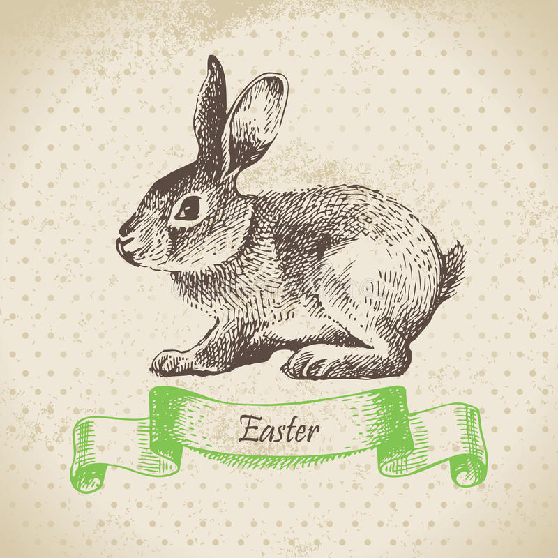 Fondo del vintage con el conejo de Pascua ilustración del vector