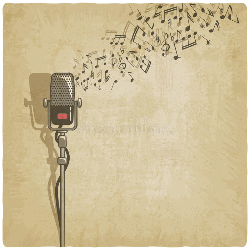 Fondo del vintage con el micrófono ilustración del vector
