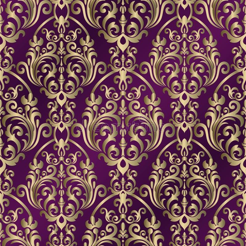 Fondo del vintage con el modelo del damasco en estilo retro Estampado de flores incons?til del dise?ador Ilustraci?n del vector libre illustration
